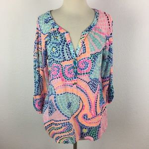 Lilly Pulitzer Knit Mosaic Print Pop Over Top Lg